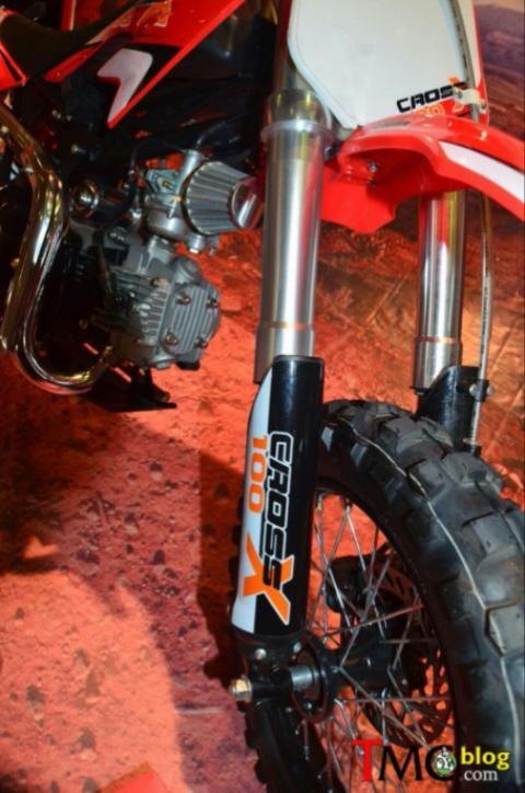 galeri detil viar cross x100 mini moto trail 100cc untuk pemula cakram depan dengan shock up side down