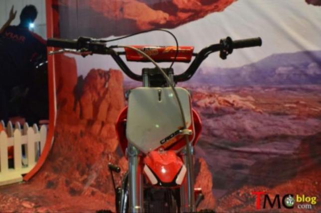 galeri detil viar cross x100 mini moto trail 100cc untuk pemula tanpa lampu utama sein spion - tanpa kopling manual