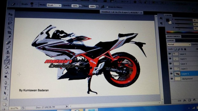 renderan sotosop photoshop all new honda cbr 150 r facelift lokal 2016 led